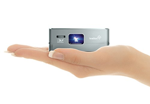 Ivation Pro3 Portable Rechargeable Smart DLP Projector - Streams via HDMI/MHL & USB Connections, Wi-Fi, Bluetooth - Compatible with DLNA, Miracast, Airplay Wireless Mirroring for iOS & Android - Gray