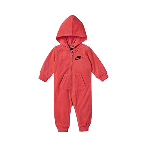 (Nike Infant Velour Hooded Coverall (Rush Pink(06E083-A4F)/Black, 6 Months))