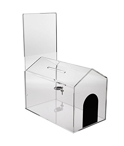 House Shaped Business Card (Source One Premium Clear Acrylic Large Donation Box House (Large, 1 Pack))