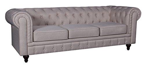 US Pride Furniture S5071 S Linen Fabric Chesterfield Sofa Set, Beige Buy Online in UAE