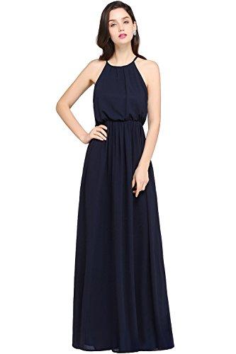 Kleid neckholder lang blau