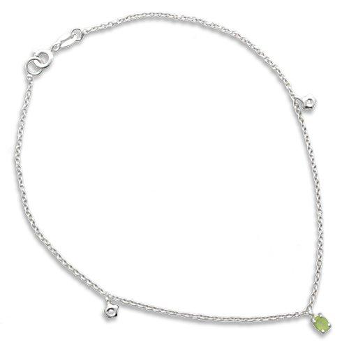 Gioie Chaîne de Cheville Femme en Or 18 carats Blanc avec Peridot et Diamant H/SI, Cm 23, 2.3 Grammes