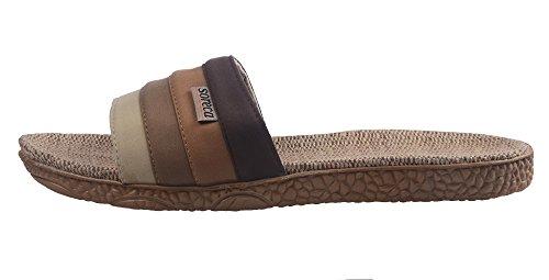 Brown Men's Slipper Gradient Stripe UIESUN Hemp qOdwzRX