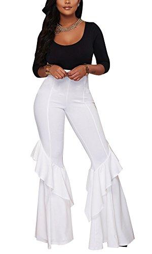 Wide Ruffle - Aro Lora Women's High Waist Ruffle Casual Party Flare Wide Leg Pants Trousers Small White