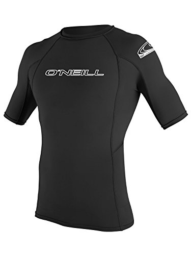 O'Neill Wetsuits Men's Basic Skins UPF 50+ Short Sleeve Rash Guard, Black, - Short Sleeve Mens Suit