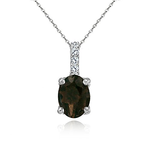 Sterling Silver Smoky Quartz and White Topaz Oval Crown Necklace ()