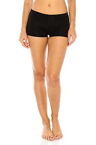 The Classic Women's Stretch Cotton Yoga Booty Shorts Under Shorts in Black - Small