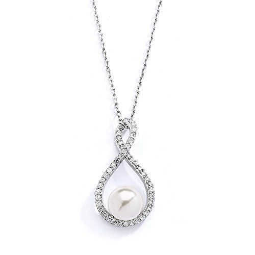 1 Light Eternity Pendant - Mariell Eternity Symbol Cubic Zirconia Infinity Wedding Necklace Pendant with Light Ivory Simulated Pearl
