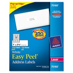 "Avery 5160 Easy Peel White Address Labels for Laser Printers, 1"" x 2-5/8"", Box of 3000"