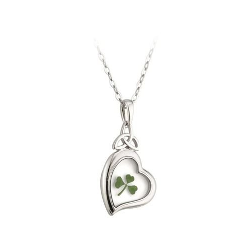 Trinity Knot & Heart Real Shamrock Necklace Irish Made
