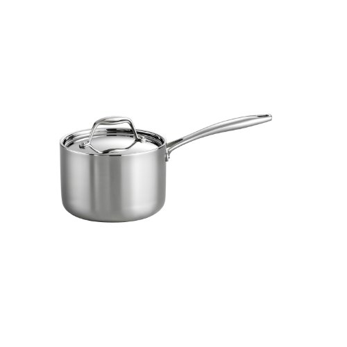 Tramontina 80116 022DS Gourmet Stainless Steel Induction-Ready Tri-Ply Clad Covered Sauce Pan, 2-Quart, NSF-Certified, Made in Brazil