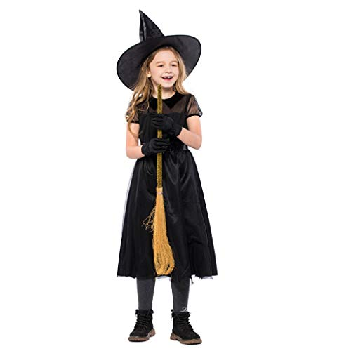 Meeyou Girls Witch Costume, Halloween Fancy Dress Up for kids,Size M,7-8T -