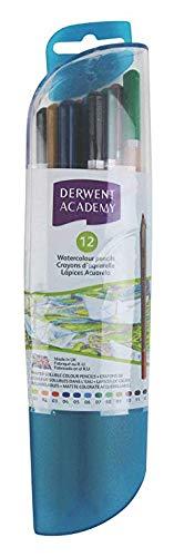 - Derwent Academy Watercolor Pencils, 3.3mm Core, Pod Container, 12 Count (2301944)