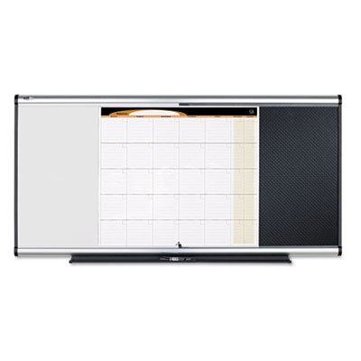 3-in-1 Board, Embossed Foam, 35 x 24, Black/White, Gray Aluminum/Plastic Frame, Sold as 1 Each by Quartet