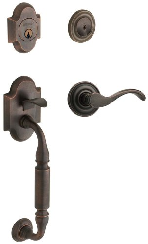 - Baldwin 85305.402.LFD Canterbury Sectional Trim Left Hand Dummy Handleset with Wave Lever, Distressed Oil Rubbed Bronze
