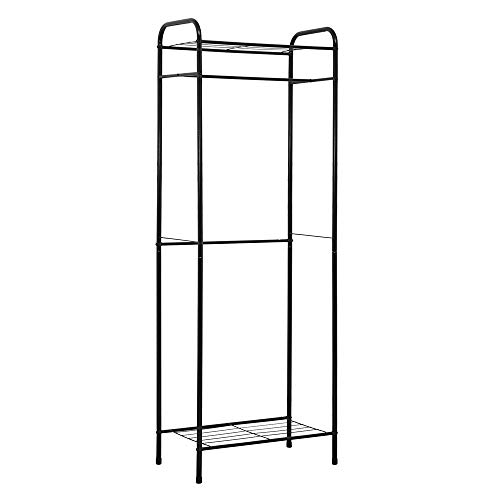 Function Home Free-Standing Garment Rack,Clothing Rack with Top and Bottom Shelves,Closet Organizer Rack for Office,Entryway,Bedroom (Black)