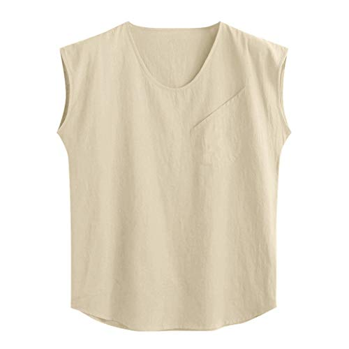 FONMA Men's Baggy Cotton Linen Solid Pocket Sleeveless O-Neck Vest Tank Tops Blouses Khaki]()