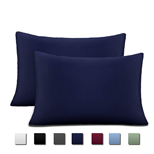 Cok Pillow Cases 20x26, Brushed Microfiber 1800 Luxury, Soft, Breathable and Hypoallergenic Pillowcases - 2 Pack (Navy Blue, Standard)