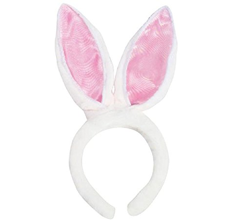 Novelty Treasures Pink and White FLUFFY FLEXIBLE Bunny Rabbit Ears (1) (Dog Baby Blanket Pink)