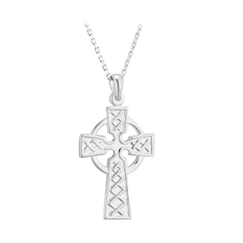 Failte Celtic Cross Necklace for Men Sterling Silver 2 Sided Made in Ireland -