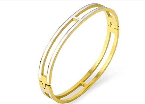 Fashion Titanium Steel Bracelets Buckle Bangle Love Bracelet Enamel Bracelet Jewelry for Women(8mm white/gold)