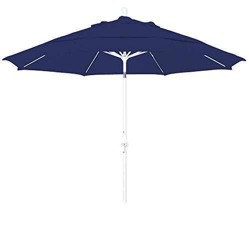Cheap California Umbrella 11′ Round Aluminum Pole Fiberglass Rib Market Umbrella, Crank Lift, Collar Tilt, White Pole, Navy Blue Olefin