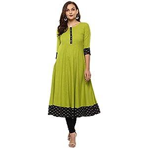 Yash Gallery Women Cotton Slub Printed Anarkali Kurta(Green)