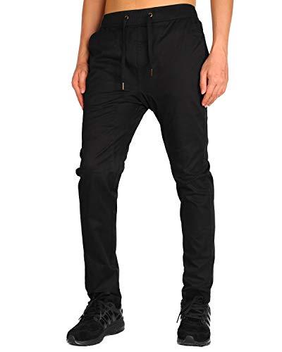 THE AWOKEN Men's Chino Jogger Pants Khaki Stretch Twill Slim Fit Sweatpant (Black, XS)