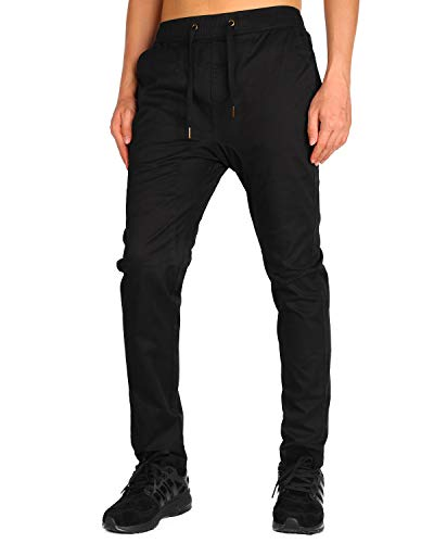 (THE AWOKEN Men Black Chino Jogger Sweatpants Slim Fit Casual Pants (Black, L))