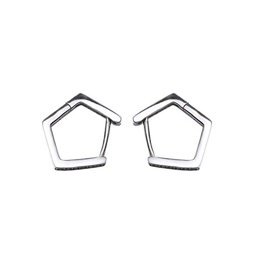 Adisaer Sterling Silver Stud Earrings For Women Small Hollow Geometric Cubic Zirconia LW 1.3X1.2CM Round Shape Cubic Zirconia Birthday Giftsearrings