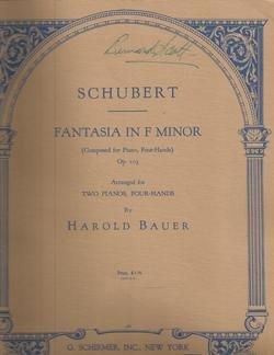 Schubert Fantasia in F Minor arranged for 2 Pianos, 4 Hands by Harold Bauer (Schubert Fantasie In F Minor Sheet Music)