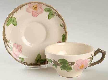 Flat Cup & Saucer Set in Desert Rose (England Backstamp) by Franciscan (Franciscan Desert Rose Cup)