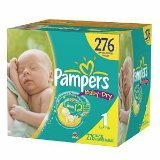 Pampers Baby Dry Diapers, Economy Plus Pack, Size 1, 8-14 lbs, 276 count by Pampers