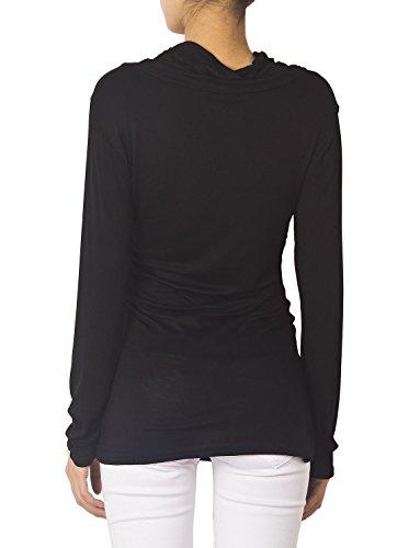 iB-iP Mujer Cuello Redondo Drapeado Slim Fit Cuerpo Blusas Mang Blusa Corporal Negro