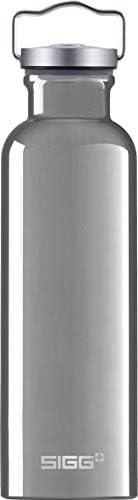 SIGG Original Alu Water Bottle (0.75 L), Pollutant-Free and Leakproof Metal Bottle, Lightweight and Sturdy Alu