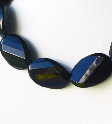 2 Faceted 30x20x8mm Jet Black Obsidian Pendant Bead for Jewelry Making 008680
