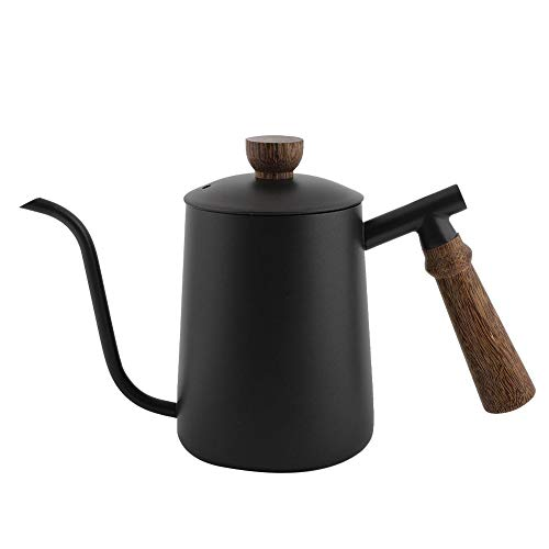 Coffee Pot, 600ml Stainless Steel Gooseneck Kettle Drip Over Coffee Pot with Wooden Handle