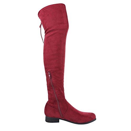 Ital-Design - botas clásicas Mujer borgoña