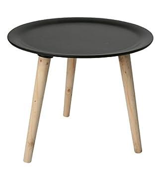 Retro Beistelltisch Rund 38 Cm Schwarz Holz Tisch Couchtisch
