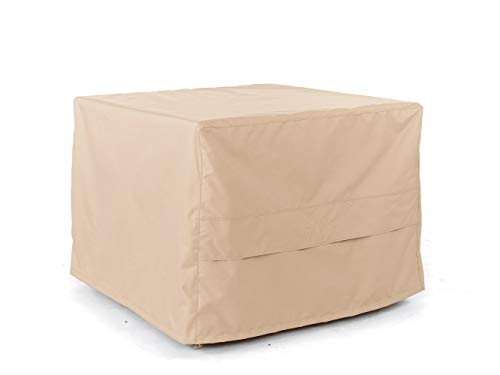 Covermates - Square Bar Height Fire Pit Cover - Fits 42 in Width, 42 in Depth and 35 in Height - Ultima Ripstop - 600D Fade Resistant Poly - Covered Ventilation - 7 Year Warranty - Ripstop Tan