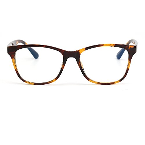 Blue Light Blocking Computer Reading Glasses, Reduce Eye Strain Anti Glare Clear Lens Video Eyeglasses Men Women (Tortieshell / Clear) (Lens Video Plastic)