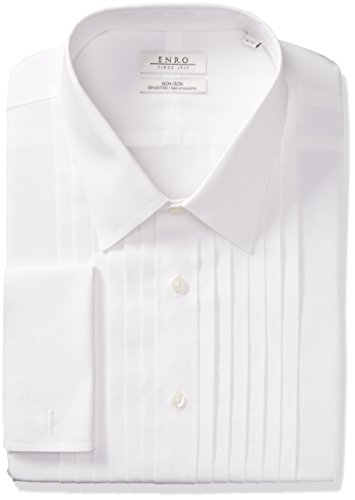Enro Men's Big and Tall Classic Fit Solid French Cuff Tuxedo Shirt, White, 17.5