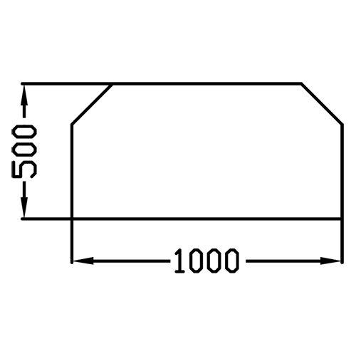 Funkenschutzplatte/ Glasbodenplatte/ Kaminbodenplatte/ Vorlegeplatte/ Klarglas in 6mm ESG Sechseck 100 x 50cm F20