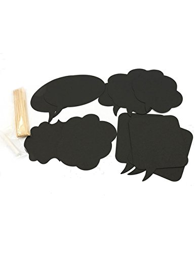 Mwfus DIY Photo Booth Props Wedding Engagement Photo Booth Signs Speech Bubbles on a Stick Birthday Party Decoration Card Chalkboard Stick 10 - Create Booth Own Photo