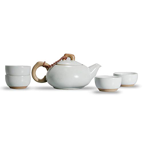 - Newchinaroad Ru ware antique tea set (including filter)-100% Chinese ceramic Kungfu tea set-1 teapot & 4 teacups (5pcs) (Moon white)