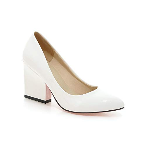 Women's Pointed White Block Shoes Toe Lsm Mouth Shallow Heel Heels qIUUwf