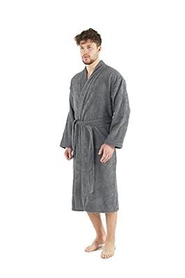 Bagno Milano Mens Terry Robe – 100% Pure Turkish Cotton – Kimono-Style