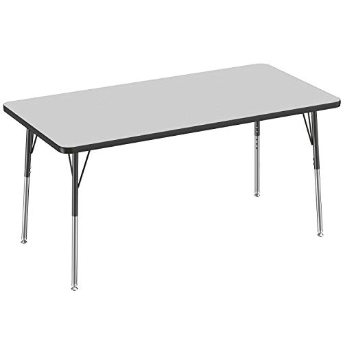 FDP Rectangle Activity School and Office Table (30 x 60 inch), Standard Legs with Swivel Glides, Adjustable Height 19-30 inches - Gray Top and Black Edge
