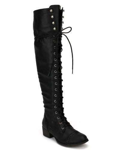 Over the Knee Faux Leather Lace Up Riding Vegan Low Heel Boot Black fIAEgSV