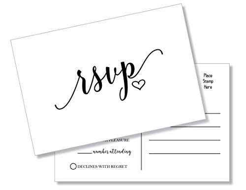 50 RSVP Heart Postcards (Thick Card Stock) - Any Occasion - Response Card, RSVP Reply, Wedding, Rehearsal Dinner, Baby Shower, Bridal Shower, Birthday, Engagement, Bachelorette Party Invitations